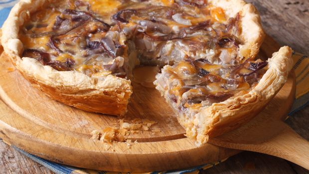 Caramelised onion and cheese tart