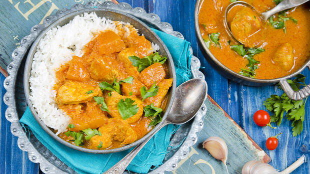 Pumpkin and chicken red curry