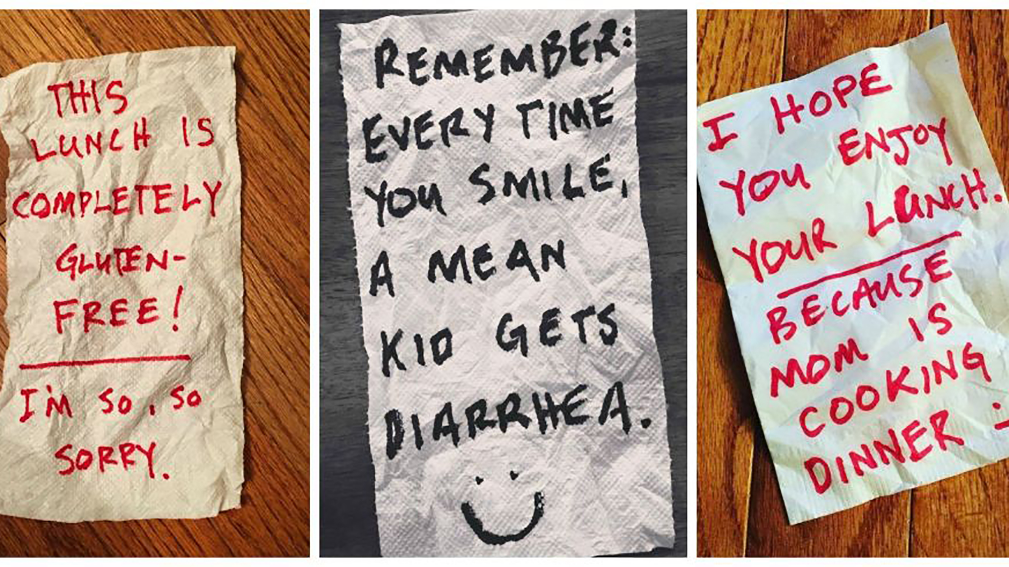 Dad brightens kid's day with hilarious lunchbox notes