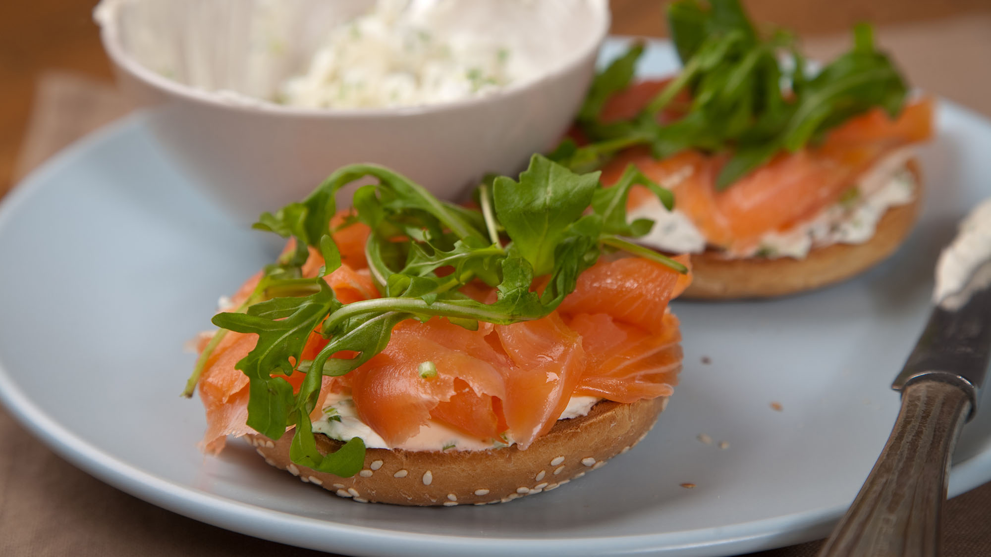 Smoked salmon bagels with cream cheese