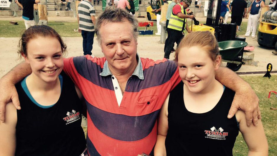 Two young sisters make quite them impression woodchopping at Royal Easter Show