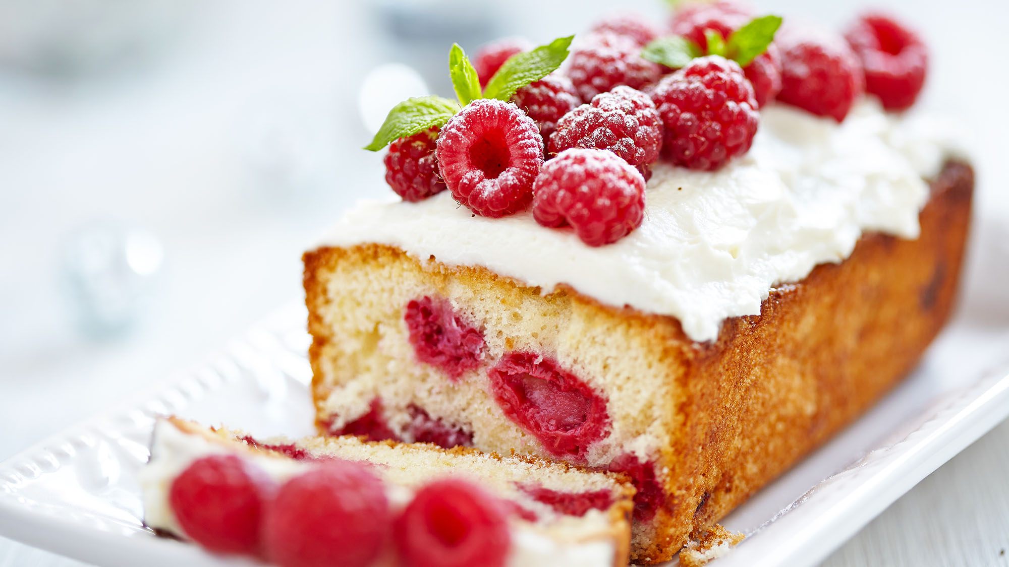 Raspberry banana cake with passionfruit icing