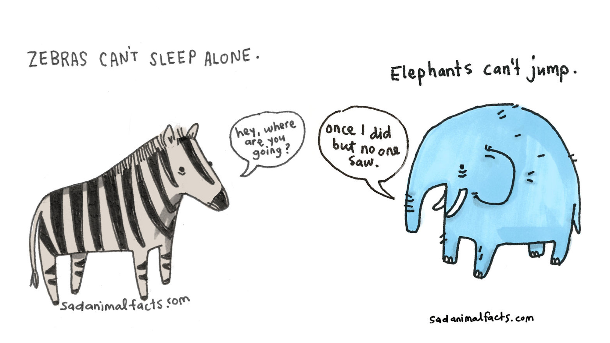 These sad animal facts are illustrated in the cutest way