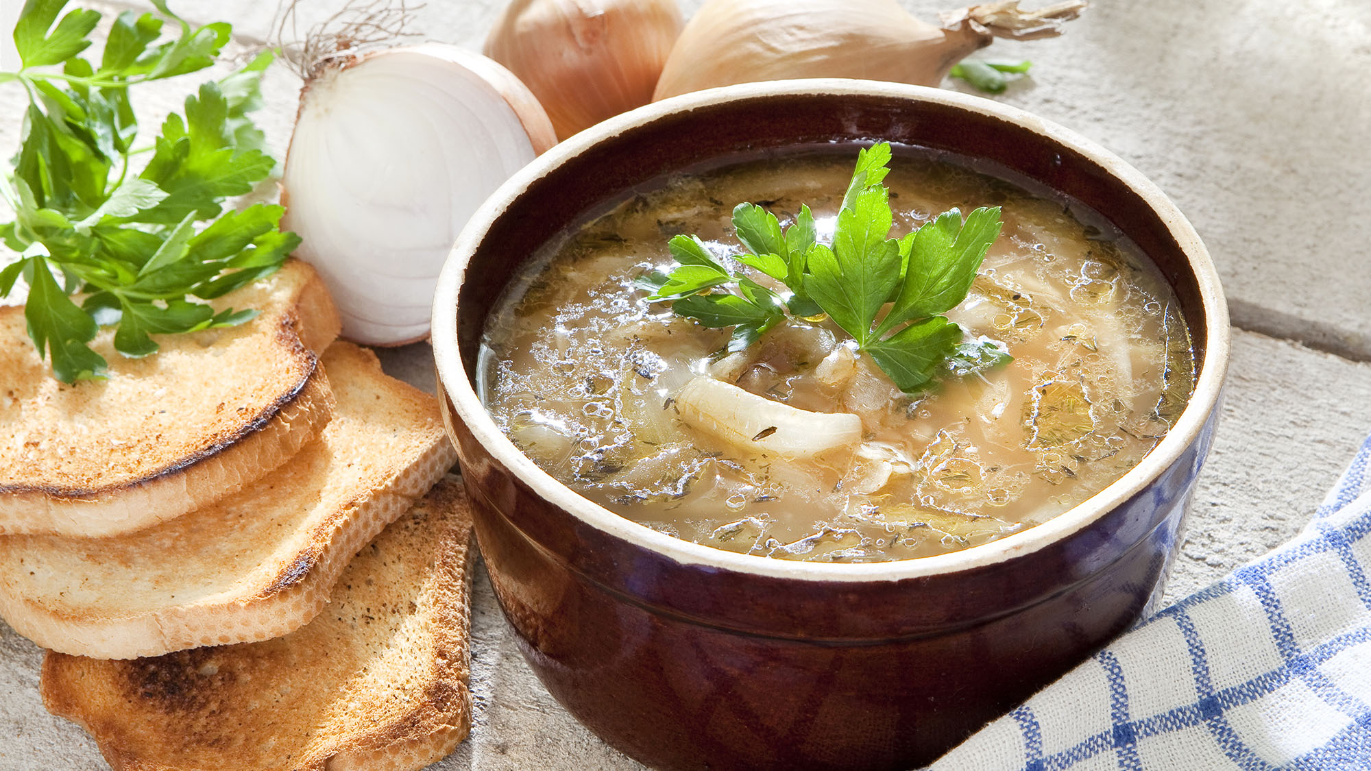 Roast onion soup