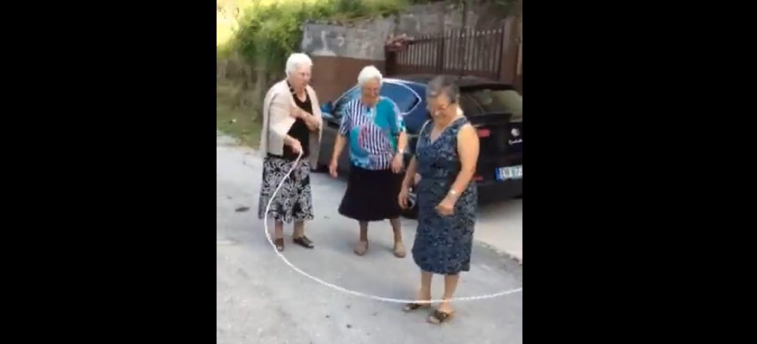 Watch three grandmas skip rope