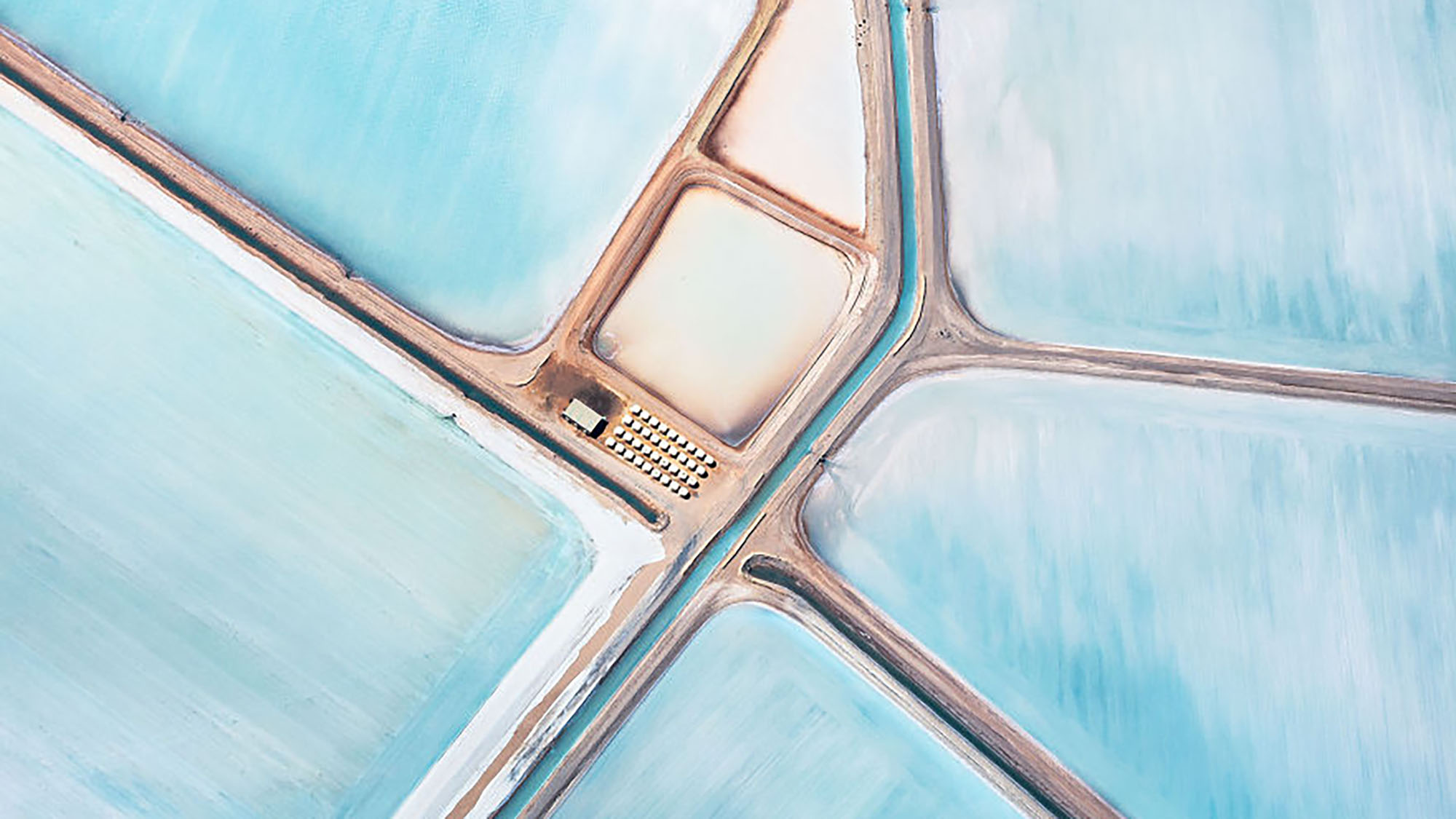 In pictures: Australia's blue salt fields from above