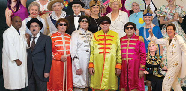 Retirement community dress up as iconic characters for calendar