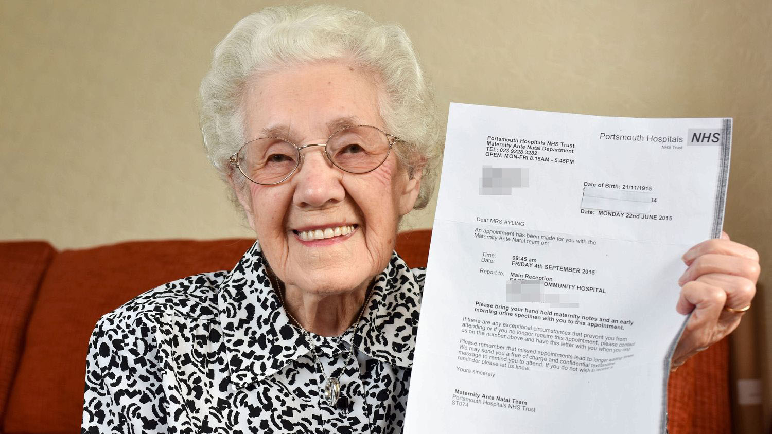 Great-grandmother, who is nearly 100, told she's pregnant