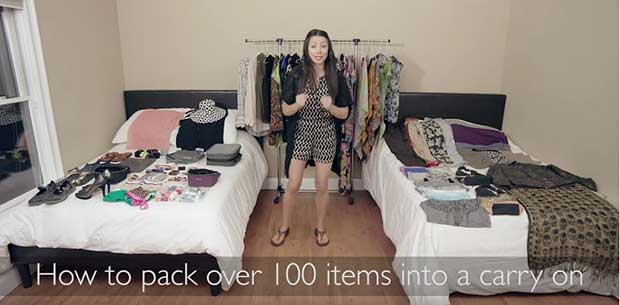 Woman shows you how to pack 100 items into hand luggage