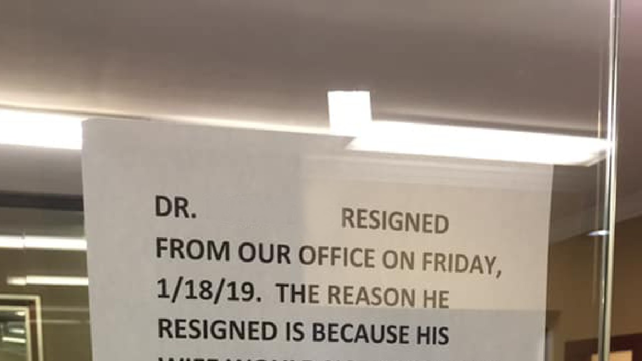 """Why this """"unprofessional"""" sign at a doctor's office has gone viral"""