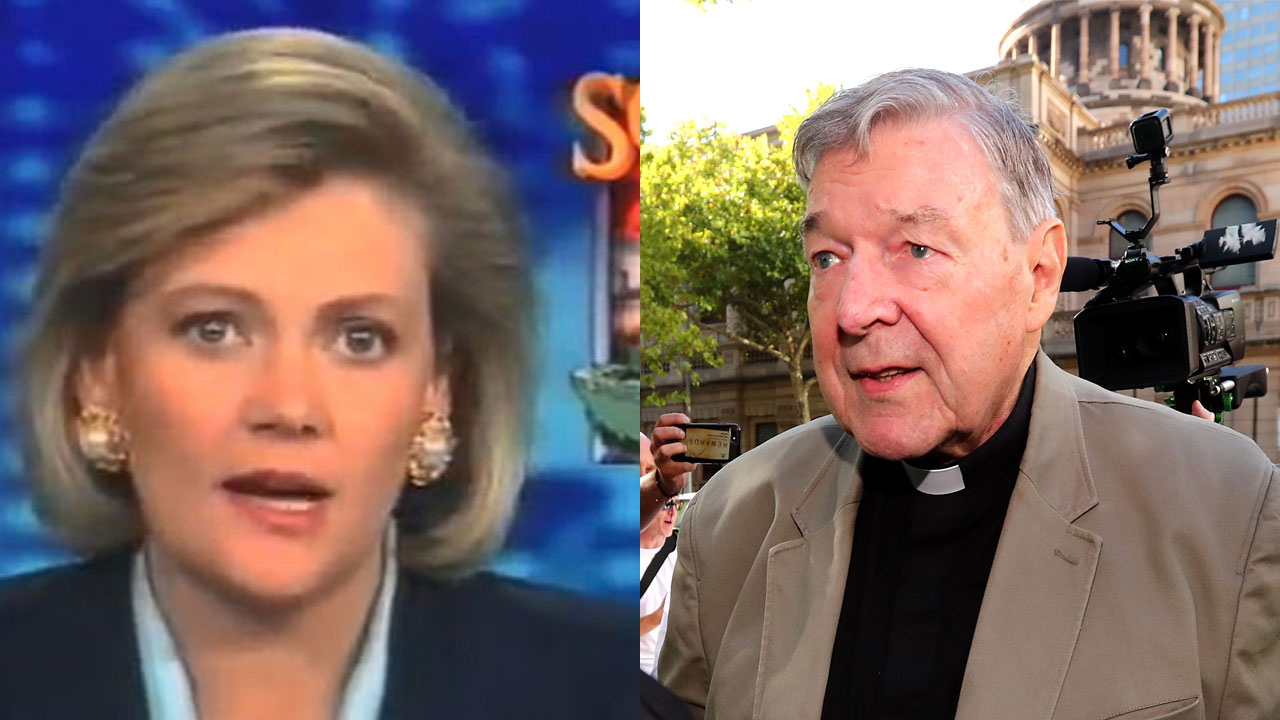 Why is 1980s newsreader Katrina Lee standing by George Pell's side?