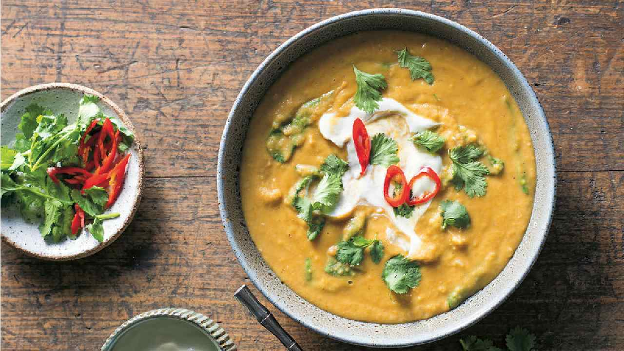 Spice it up: Indian curried yellow split pea and coconut soup