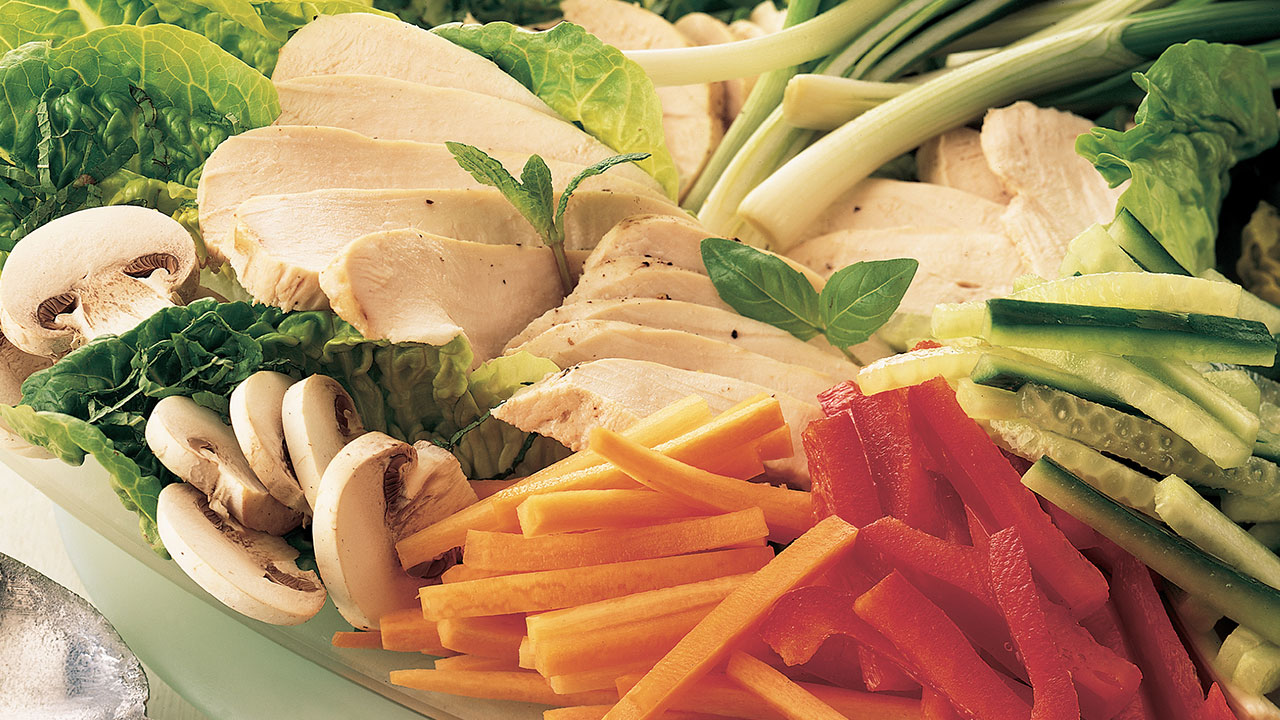 Healthy chicken salad with tahini dressing