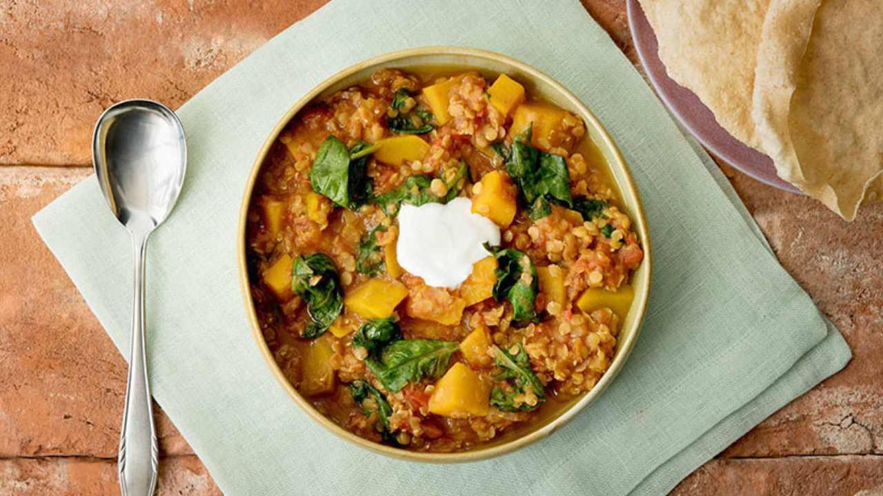 Warming pumpkin and lentil dahl