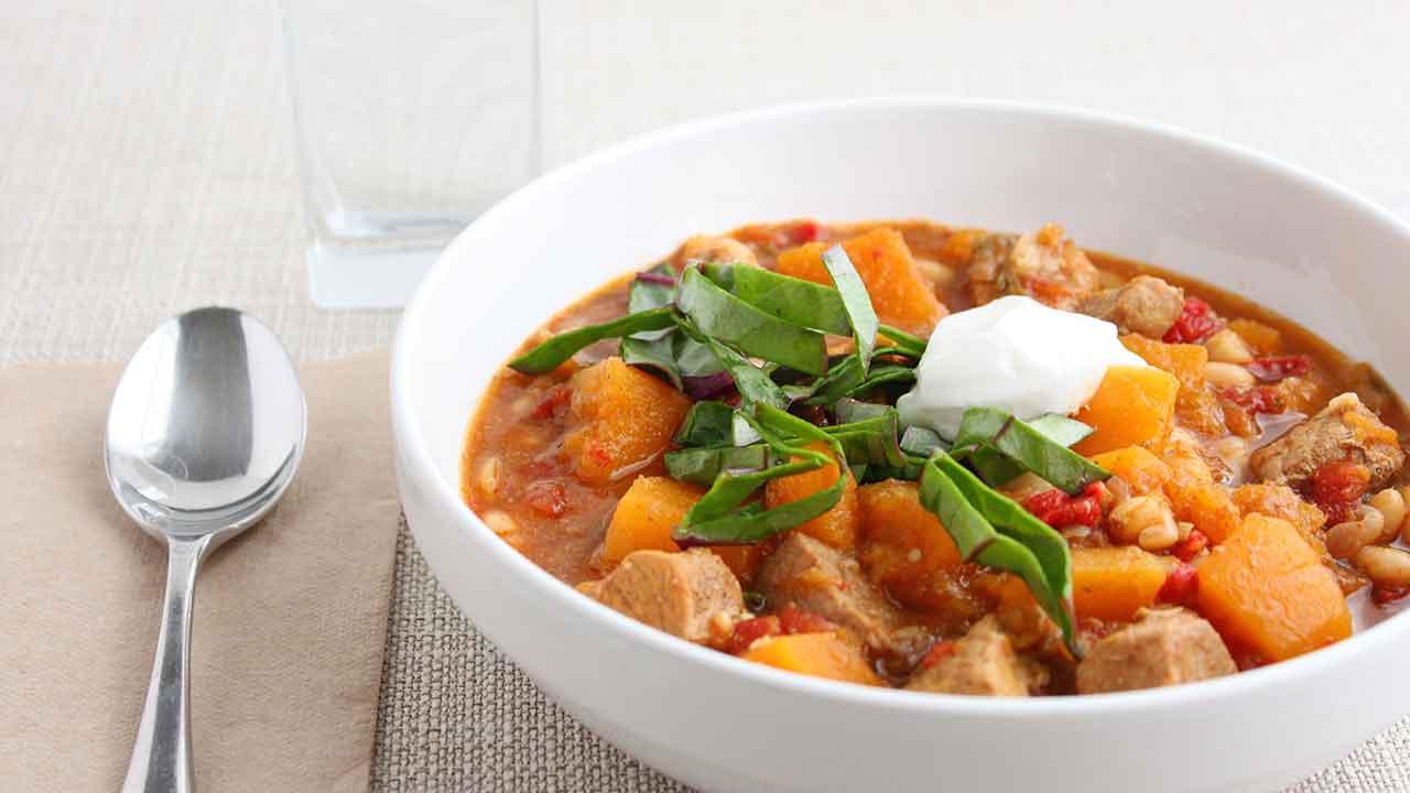 Warming pork and butterbean stew