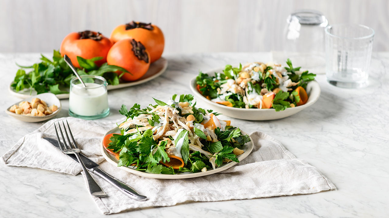 Refreshing persimmon and herb chicken salad