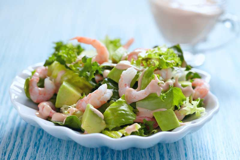 Simple prawn and avocado salad