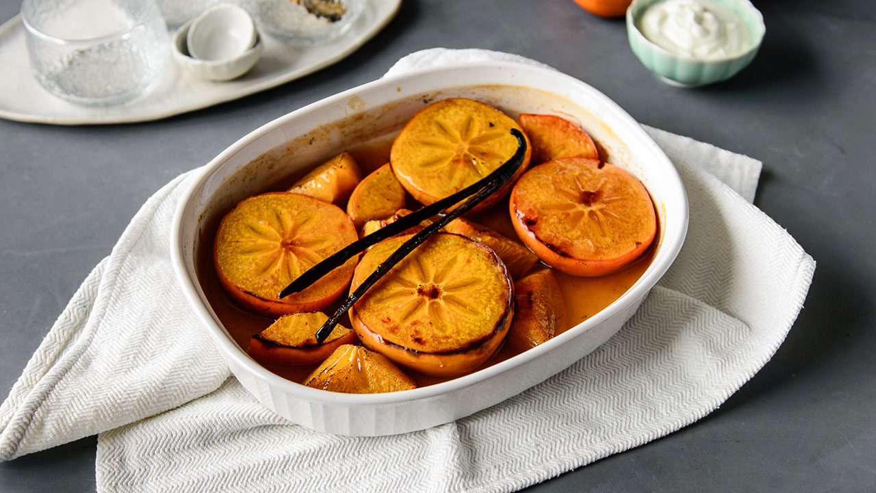 Caramelised honey baked persimmons
