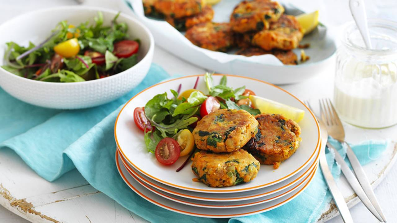 Enjoy a healthy burger with egg-free sweet potato and lentil patties
