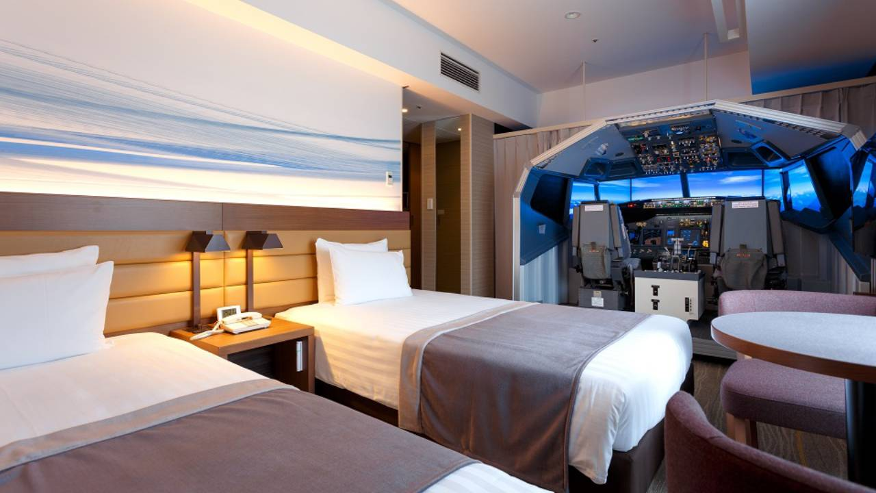 The Japanese hotel room that comes with a life-size flight simulator