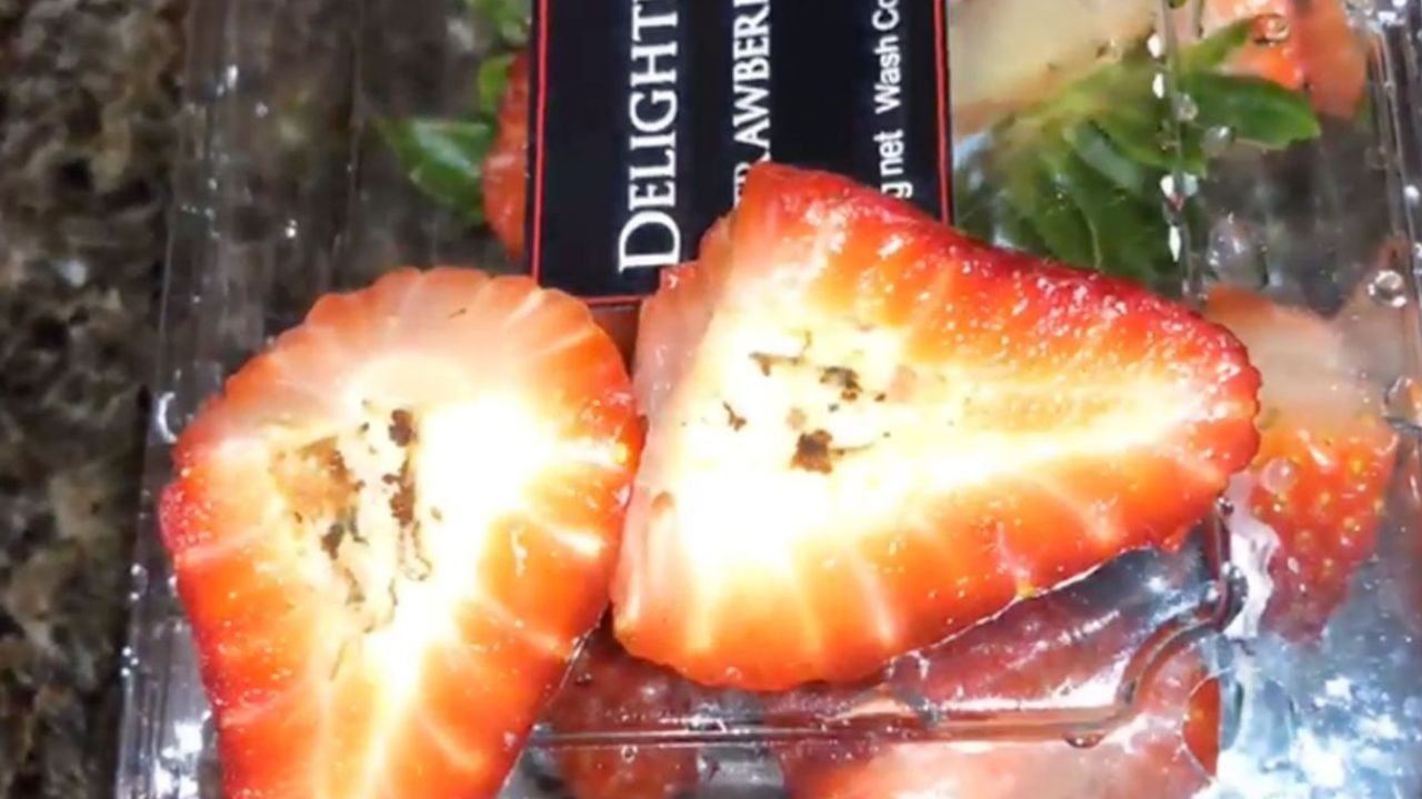 Shopper's horrifying discovery in her Coles strawberry