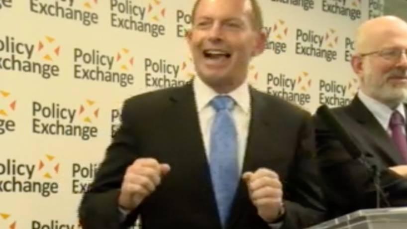 """""""Creepiest person in politics:"""" Tony Abbott's disturbing joke at UK Brexit speech"""