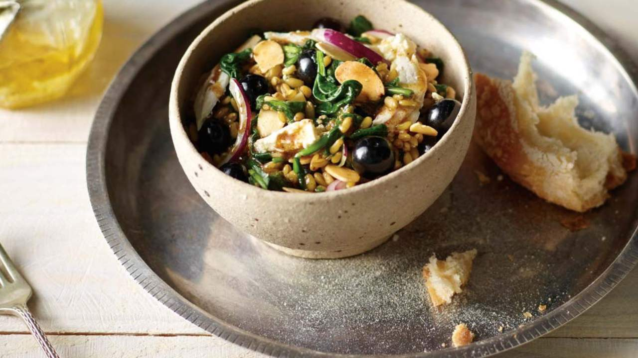 Spiced freekeh, turkey and blueberry salad with Persian feta