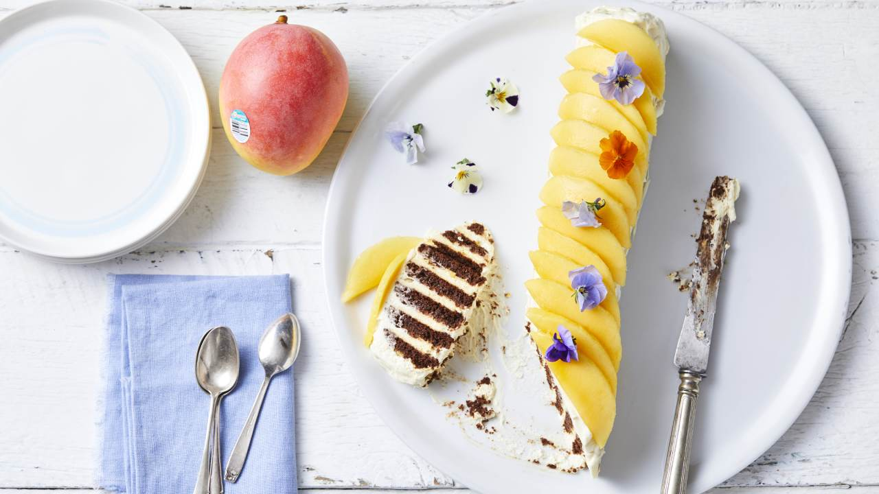 No-bake mango cheesecake log