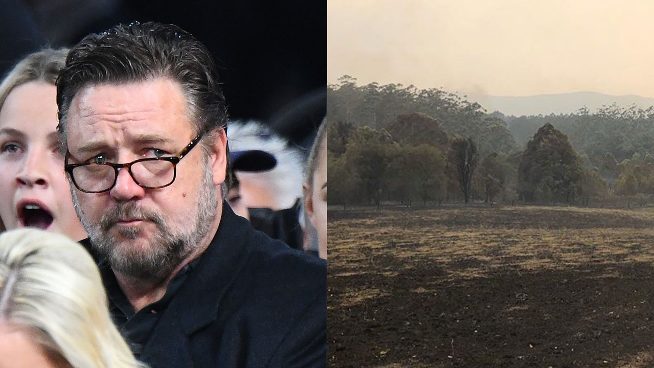 Russell Crowe shows incredible impact of recent rain on his property
