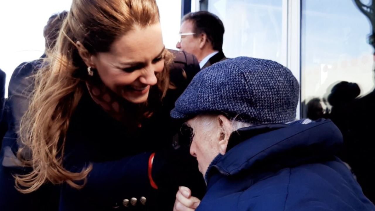 Touching moment 90-year-old superfan kisses the Duchess of Cambridge's hand