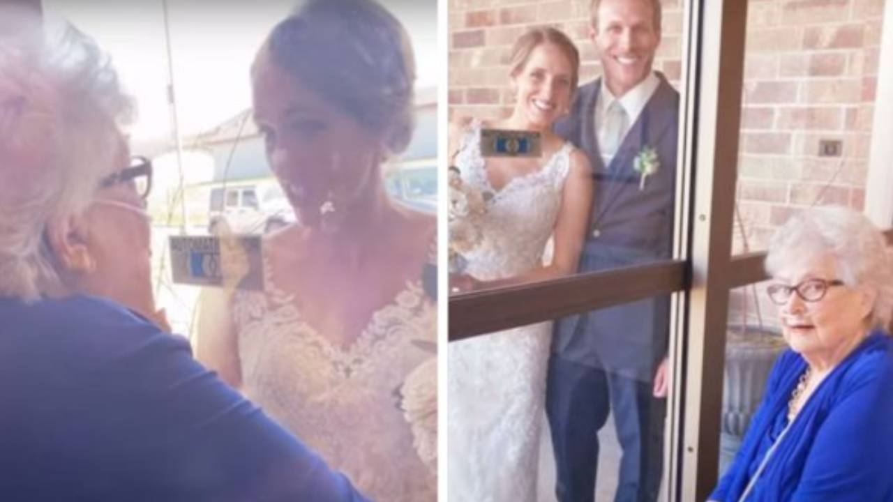 The touching moment bride visits her grandmother through care home window on her wedding day
