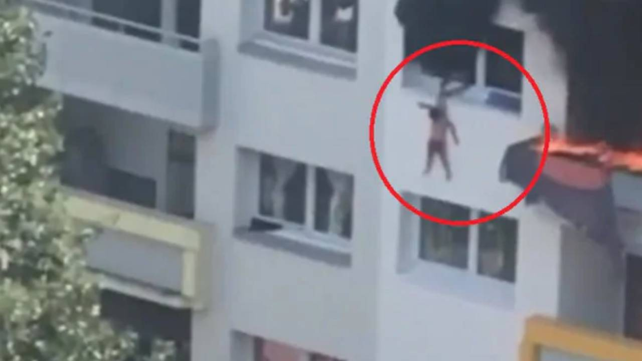 Dramatic moment kids fall from building