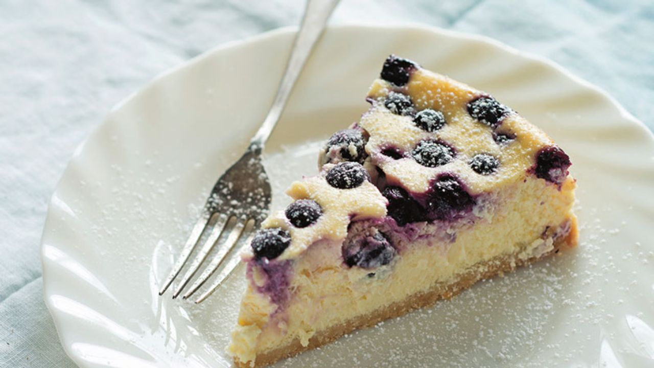 Sweet and tangy lemon and blueberry cheesecake