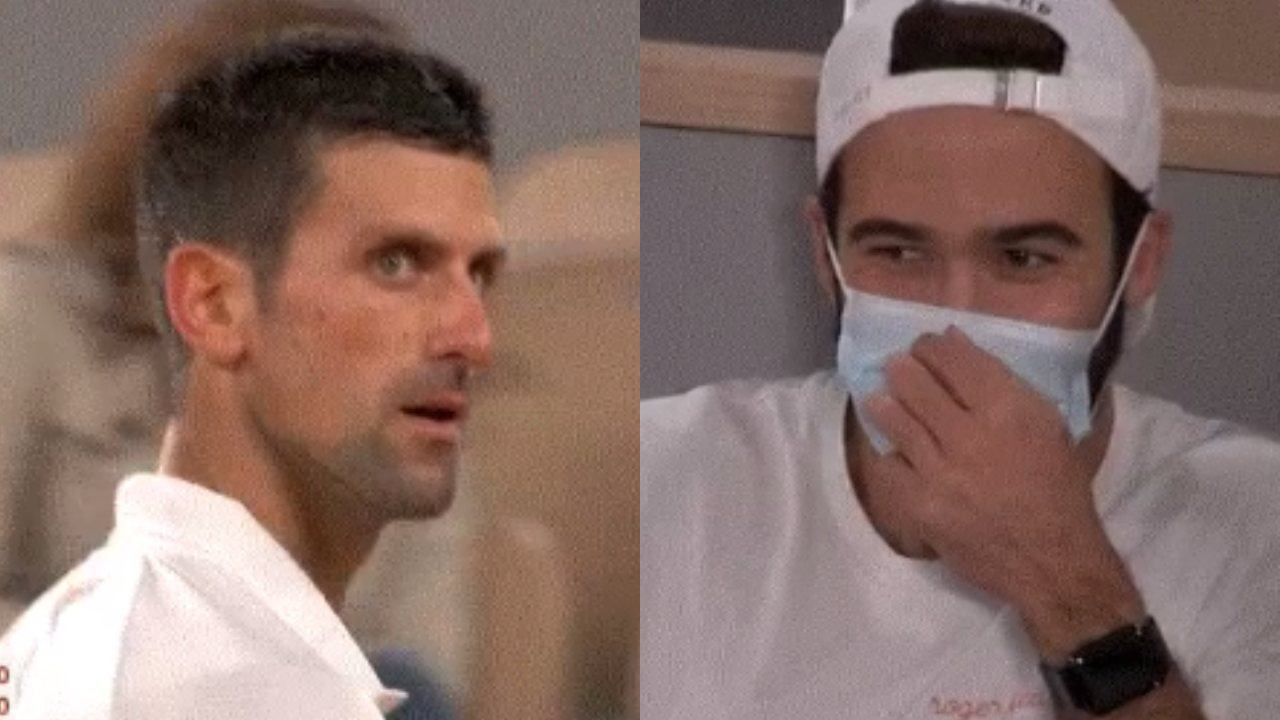 Novak Djokovic caught in tense exchange with Federer fan
