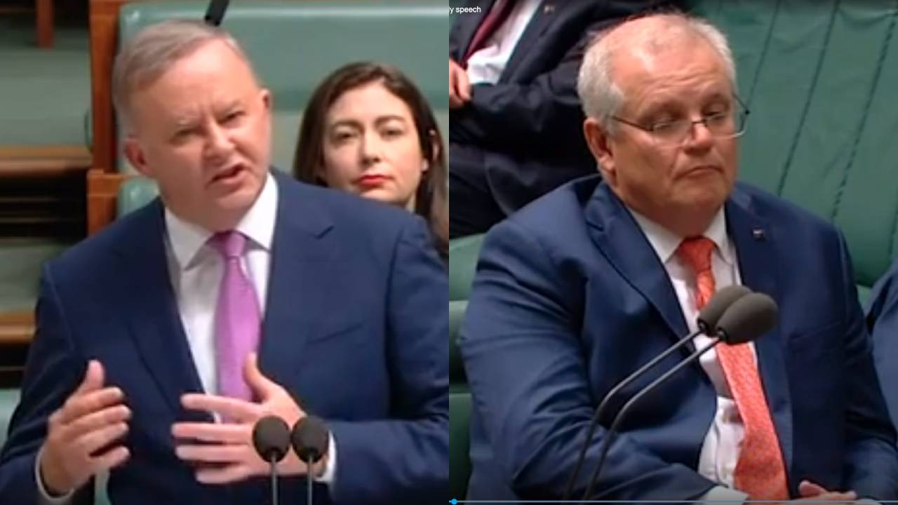 Scott Morrison ignores Anthony Albanese's budget reply speech