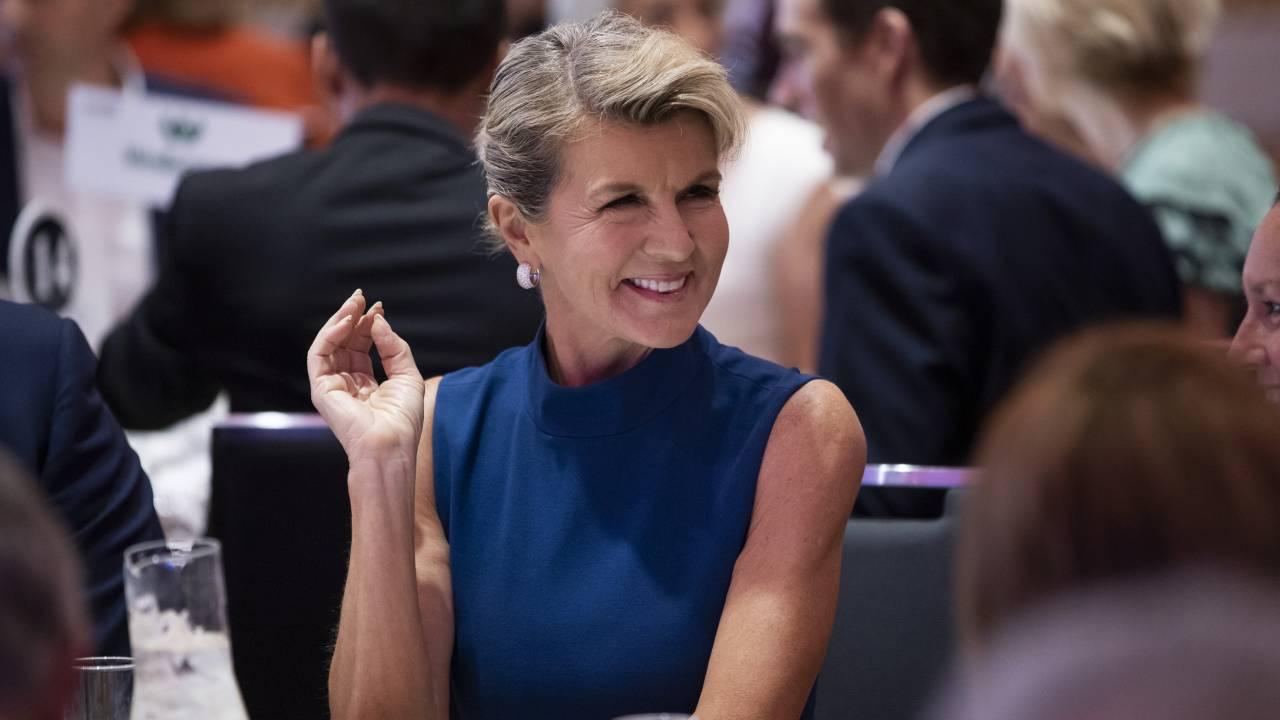Julie Bishop turns heads in stunning designer gown