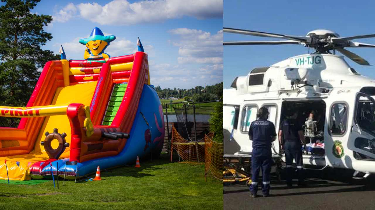 Bouncy castle sent flying hundreds of metres turns family day upside down
