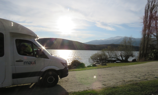 Our Maui Cascade motorhome on the shores of Lake Hayes. Photo by Justine Tyerman