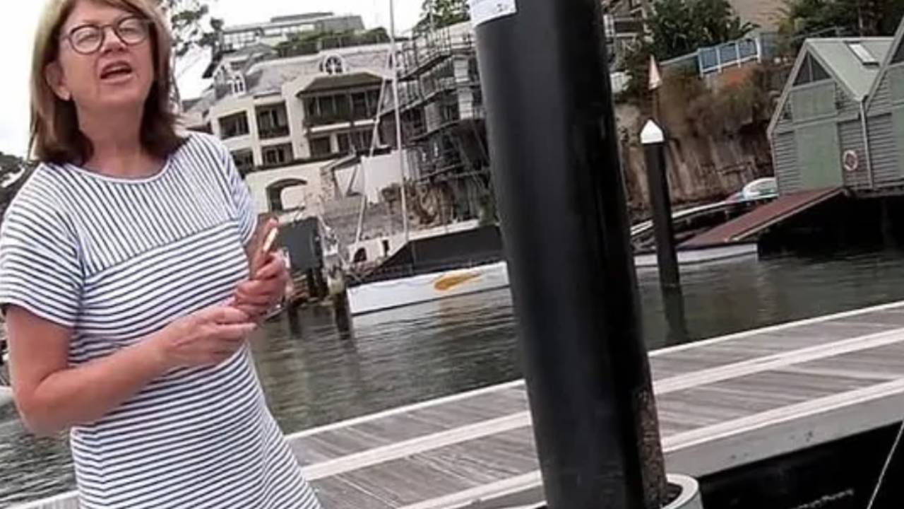 """Karen"" caught on camera threatening fisherman"