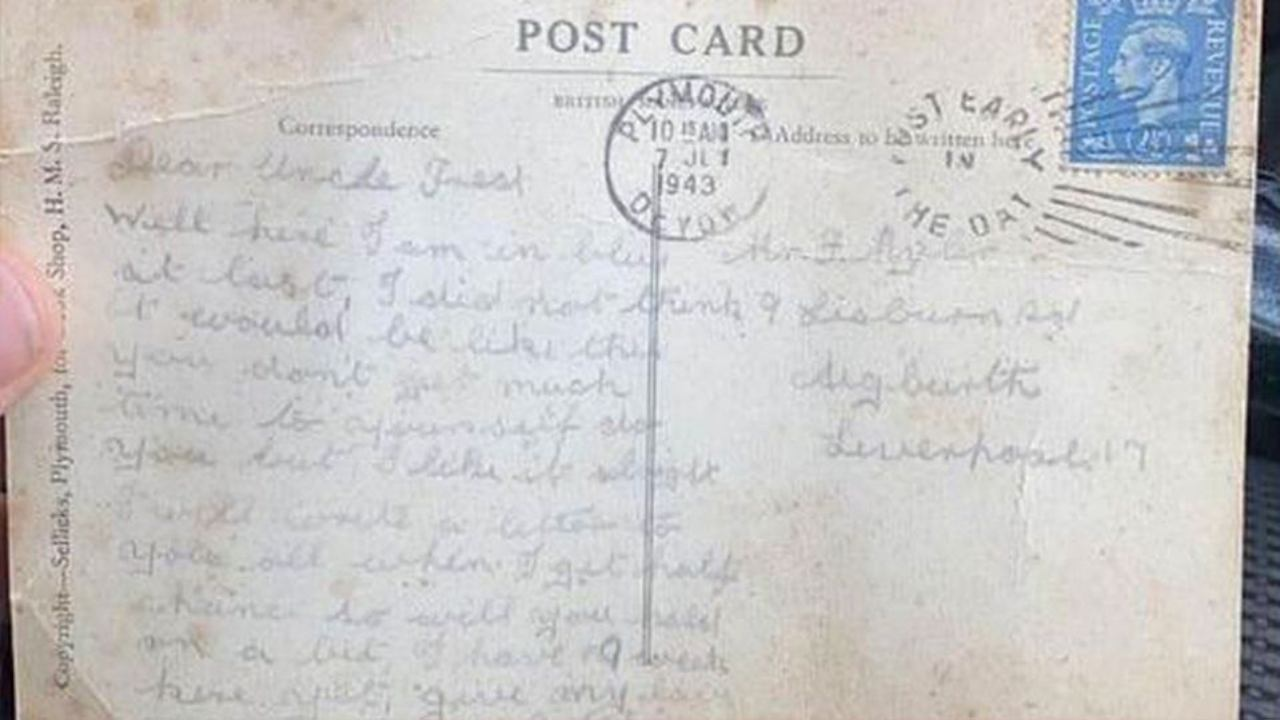 WWII veteran's postcard delivered 77 years later