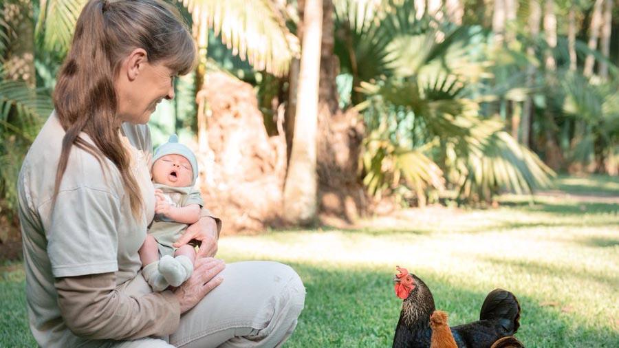 Bindi Irwin's new bub makes some new friends at Australia Zoo