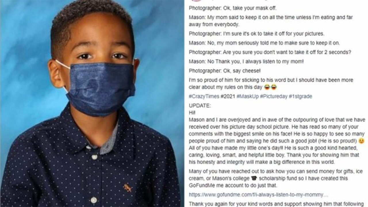 """""""Always listen to mummy"""": Kid who refused to take off mask for school photos gets $30k"""