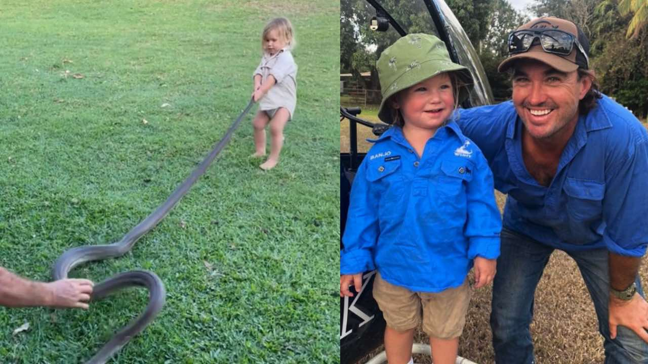 Outback wrangler helps his son tackle a two-metre python